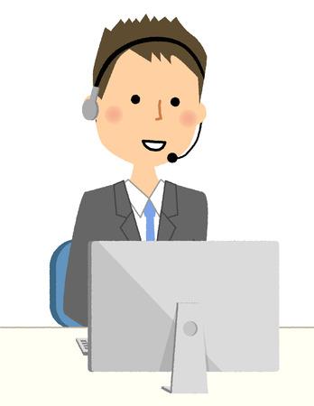 実業家、パソコンで手無料ヘッドセット  イラスト・ベクター素材
