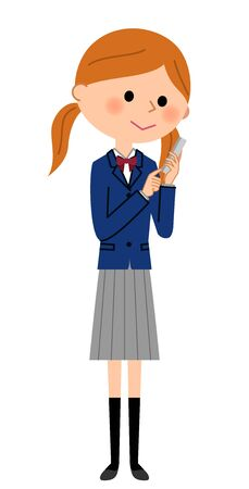 School girl who operates a smart phone