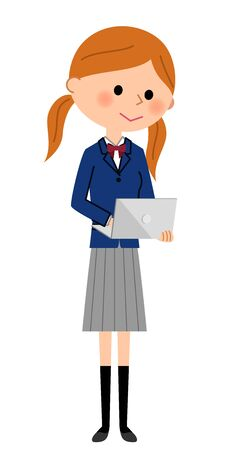girl laptop: School girls who operate laptop computers