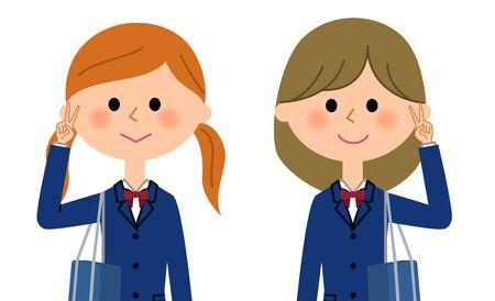 High school girls who do a V sign Illustration