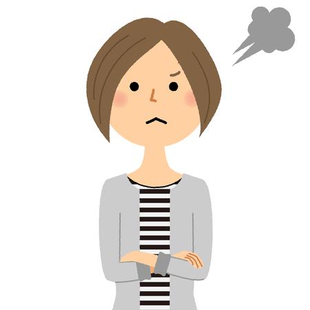 Young woman, mama, Anger Illustration