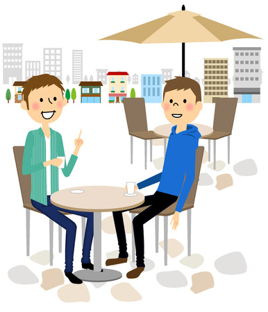 Men relaxing at the cafe Illustration
