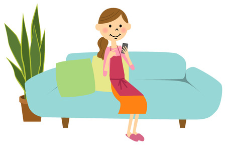 chat room: A woman of an apron manipulating a smart phone