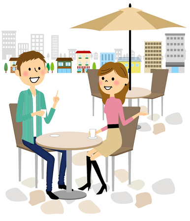 Man and woman to relax at the cafe