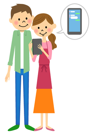Couple to chat on tablet Illustration