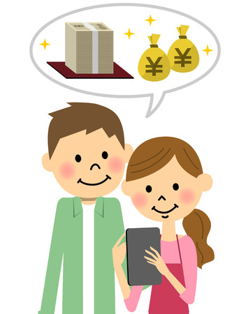 The couple who operates a tablet Illustration