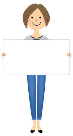 Young woman, mama, White board
