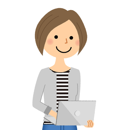 Young woman, mama, Laptop computer Illustration