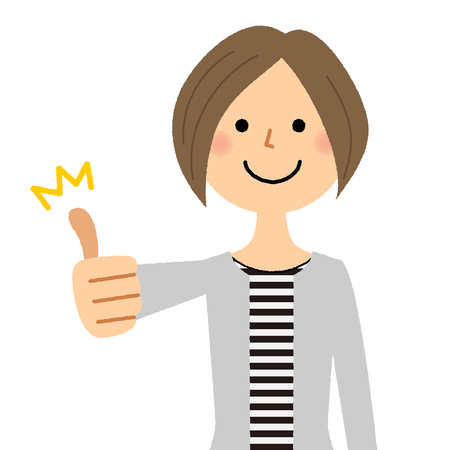 Young woman, mama, Thumbs up Illustration
