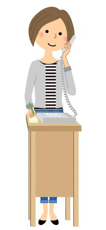 Young woman calling someone, phone illustration