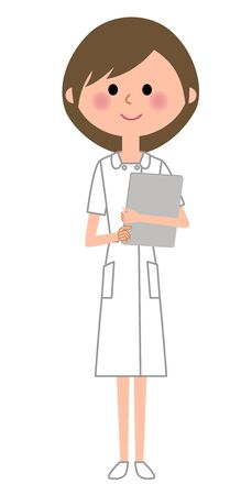 Nurse with clinical records on white background, vector illustration.