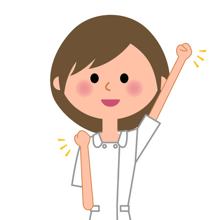 Nurse victory pause on white background, vector illustration.