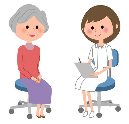 De verpleegster raadpleegt een patiënt op witte achtergrond, vectorillustratie.