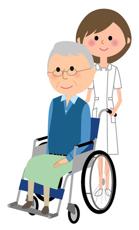 Nurse and patient in wheelchair on white background, vector illustration.