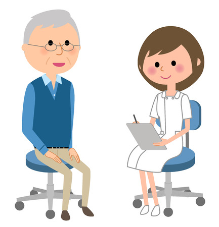 Nurses consult a patient on white background, vector illustration.
