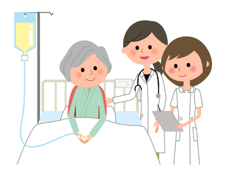 Doctors and nurses, Hospitalized patient Illustration