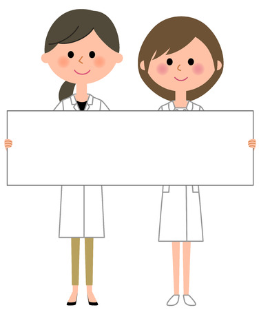 Doctor and nurse holding a white board