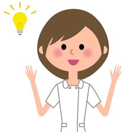 Nurse thinks of inspiration Illustration