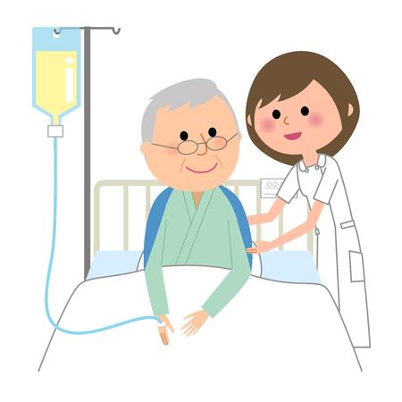 Infermiera e paziente anziani ospedalizzati Vettoriali