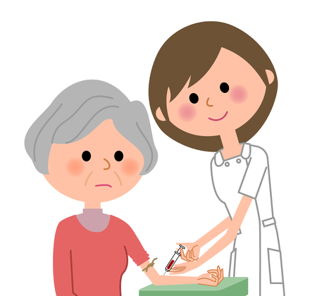 Nurse and the elderly, blood collection vector illustration. Иллюстрация