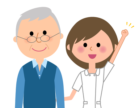 Nurse and patient on white background, vector illustration.