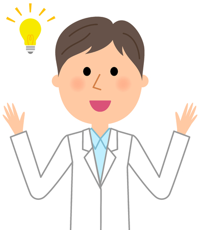 Man wearing white coat raising both hands, Vector illustration.