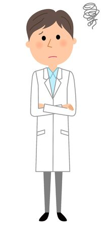 Man wearing a white coat looking worried. Vector illustration.