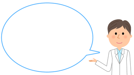 The male of the white coat, blank text bubble Balloon  イラスト・ベクター素材