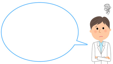 The male of the white coat, blank text bubble Balloon Illustration