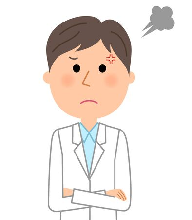 Angry male wearing white coat.