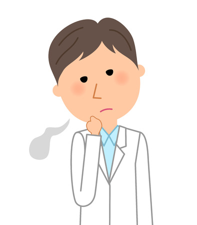 The male of the white coat, sigh illustration.