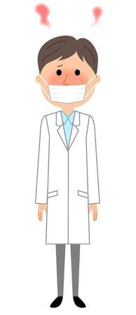 Male in white coat having fever Illustration