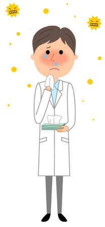 Crying male wearing a white coat.
