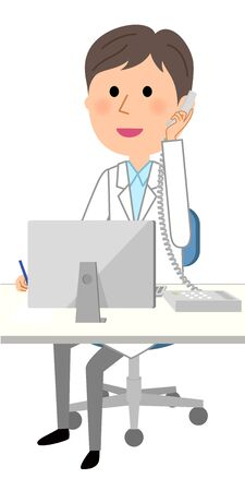 The male of the white coat, Telephone and PC