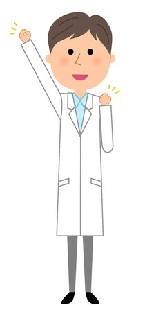 The male on a white coat illustration.