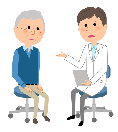The male and doctor, medical examination illustration.
