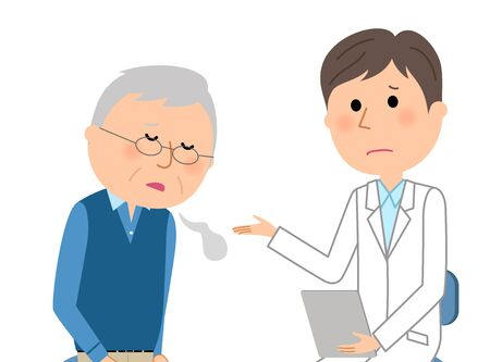 Old man consulting a doctor in cartoon illustration. Vectores