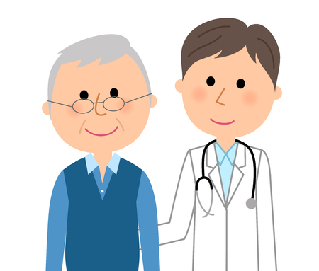 The male patient consulting to doctor illustration. Illustration