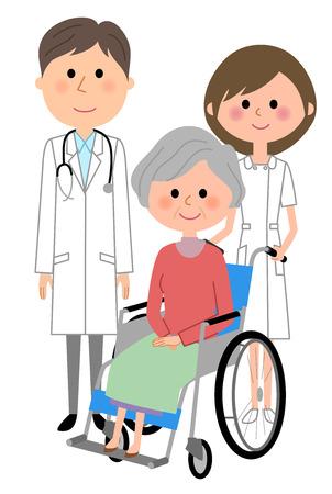 Doctor, nurse and patient illustration Illustration