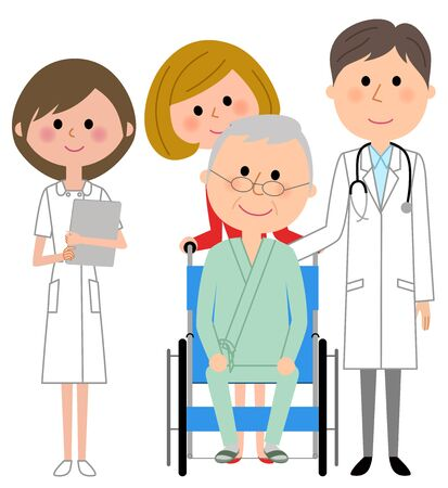 Doctor, nurse and patient Stock Illustratie