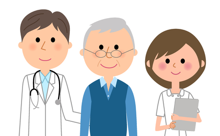 Doctor, nurse, and patient vector illustration