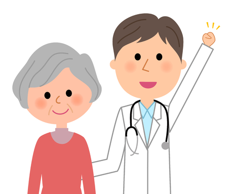 Doctor and patient vector illustration Çizim
