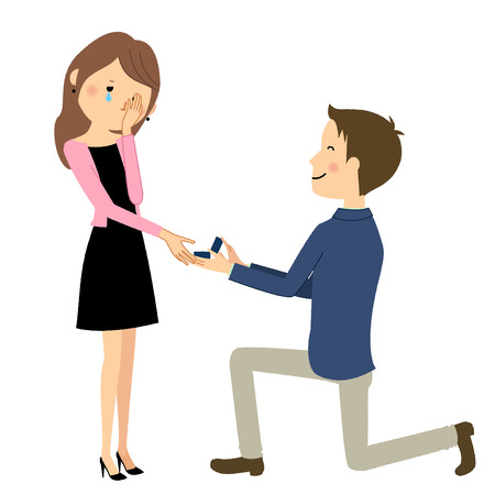 Young couple, propose marriage illustration. Stock Illustratie