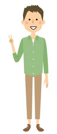 Young man showing V sign hand gesture. Illustration