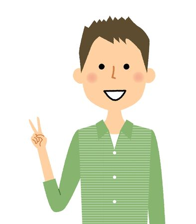 Young man showing V sign hand gesture. 矢量图像