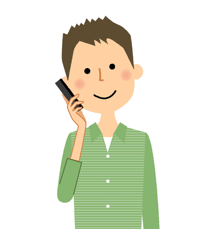 Young man with Phone Vectores