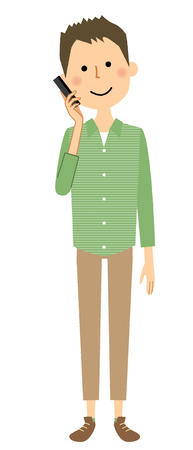Young man with Phone Illustration