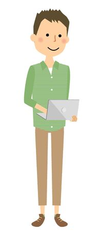 Young smiling man using a laptop while standing illustration.
