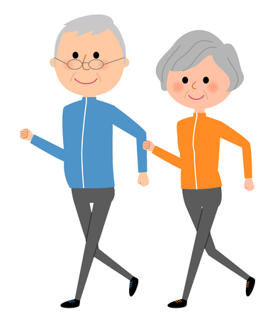 Elderly couple, Walking 向量圖像