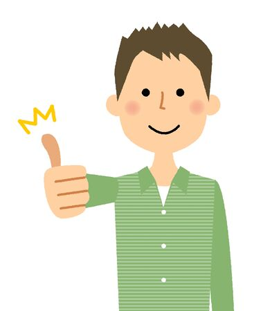 Man doing the thumbs up sign, vector illustration isolated on white background.